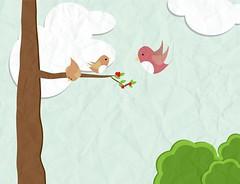 Fly fly!! (smilesoncloud9) Tags: love birds illustration digital fly digitalart mother illustrationfriday lesson learn illustratorcs4