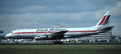 DC-8 | 5N-ATZ | AMS | 19911100 (Wally.H) Tags: mcdonnell douglas dc8 5natz ams eham flashairlines amsterdam schiphol airport