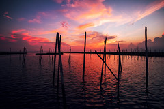 Summer Dreams (DJawZ) Tags: summer landscape ocean water pilings love sky beautiful light bay nj new jersey moon south outdoor hot fire red blue