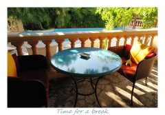 Time for a break (nathaliedunaigre) Tags: hotel 4toiles saintevalrie luxe couleurs colors terrasse piscine swimmingpool fauteuils break pause lumire light horssaison juanlespins frenchriviera