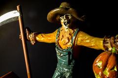 Killer Scarecrow (No Talent Bum) Tags: halloween nikon nikond5300 pumpkin scarecrow figurines macro macrophotography scythe orange
