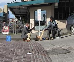 artist appreciation (D G H) Tags: dgh daveheston downtown seattle streetphotography sidewalk candid city people art male wheelchair panhandler streetperson