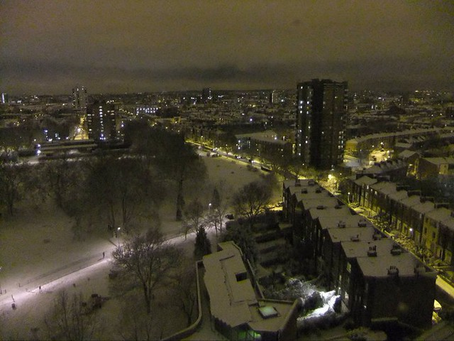 View of London Fields from the sky in Winter at night