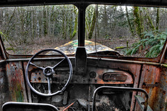 Let's roll!! (misterladybug) Tags: fern bus tree classic abandoned window oregon portland moss rust view pov antique decay transport neglected retro rusted vehicle portlandia van ferns hdr decayed misterladybug flickraward mygearandme worldmachineshdr