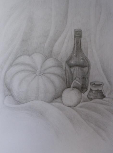 Натюрморт с бутылкой и тыквами