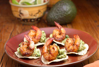 Mini Tostadas with Guacamole and Shrimp