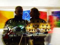 Blurring colours (guenther_haas) Tags: windows red dog selfportrait art window colors night colours nightshot cityhall paintings shaddow finepix townhall fujifilm rathaus vernissage reflexion ulm keithharing privateview badenwuerttemberg kulturnacht flickrcolour s100fs martinramsauer