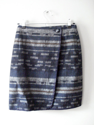 Geo Jacquard Stripe Wrap Skirt