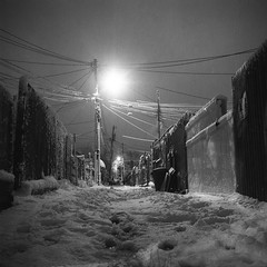 (patrickjoust) Tags: street city morning light bw usa white house snow black 120 6x6 tlr blancoynegro film home night analog america dark square lens early us reflex md alley focus long exposure mechanical snowy united release tripod north patrick twin maryland cable super row baltimore east german diafine ddr after medium format 100 states manual expired 80 joust developed ricoh hampden 1990 rowhouse develop 125 rowhome estados 80mm f35 blancetnoir orwo unidos ricohflex schwarzundweiss np22 autaut patrickjoust