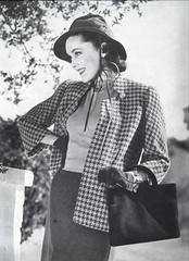 On campus - Maureen O'Sullivan (Silverbluestar) Tags: ladies girls bw classic film beautiful beauty hat fashion vintage bag stars 1930s women pretty 1938 suit hollywood actress movies celebrities brunette checks women's maureenosullivan