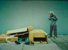 There's No Place Like Home (Tanner Almon) Tags: film brooklyn costume fuji box mini sidewalk cardboard instant imagination tanner furball almon whimsical instax furballs instantfilm cheki fujiinstaxmini tanneralmon checki55 mymomreviewsmyphotos