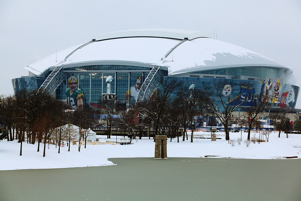 Cowboys Stadium Snowy Super Bowl Weekend