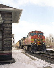 BNSF 4379 at Fostoria Depot (DarrylW4) Tags: railroad ohio usa train trains ge bnsf fostoria 4379 c449w gec449w rz67proii bnsf4379