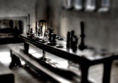 Hampton Court (David Ogilby) Tags: morning light london kitchen lamp breakfast court table oak chair fireplace candle empty shift tudor her haunting gloom hampton elizabethan tilt pewter deserted
