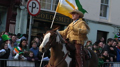 Riding in the parade (KathyGidds) Tags: street ireland horse irish hat car children cowboy beards parade bagpipes stpatricksday letterkenny