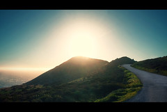 Goat Rock (Watson Lu) Tags: ocean california road sea sun mountains beach water landscape drive bay coast scenery bright sunny curvy hills crossprocessing overexposed norcal northern vignette boedga