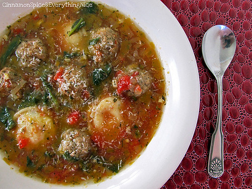 Mini Meatball and Ravioli Soup