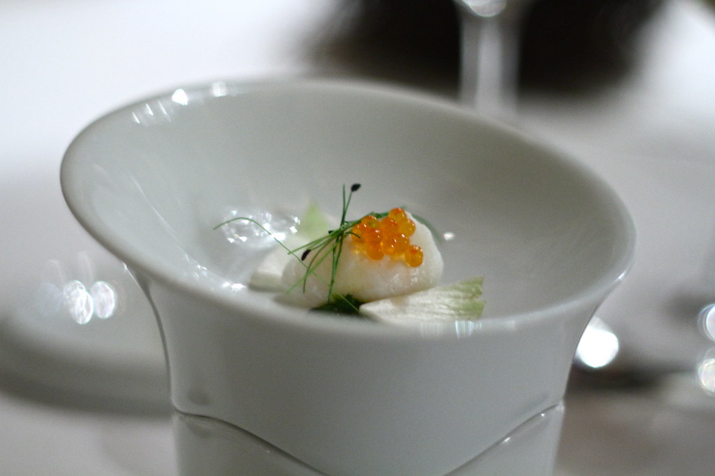 Quail egg with salmon roe