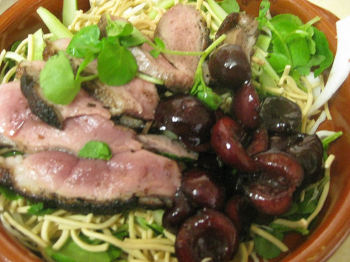 Smoked duck salad with cherries