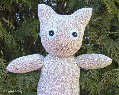 Oatmeal tweed Hug Me Sock Kitten by Elizabeth Ruffing