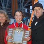 Chris Parsons-Leighton, Kelly Steeves (Whistler Mountain Ski Club) and Robbie Dixon (CAST).  Kelly won the first of two K2 Provincial SG races at the 2011 Parsons event in Whistler. PHOTO CREDIT: Whistler Question