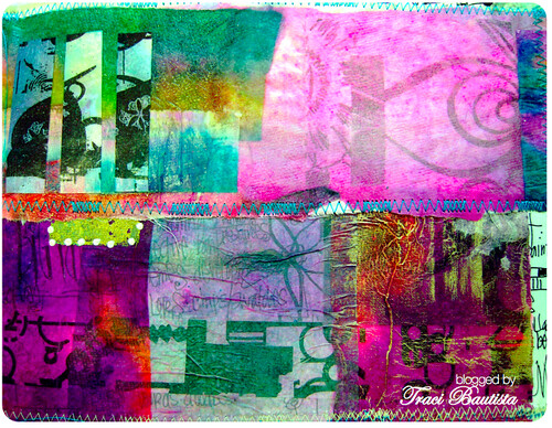 patchwork collage dyed paper towels