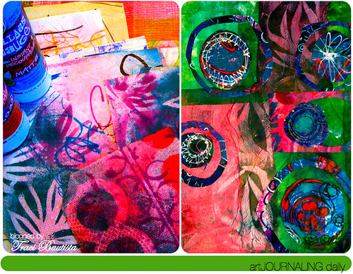 dyed paper towels. collage pauge. canvas collage