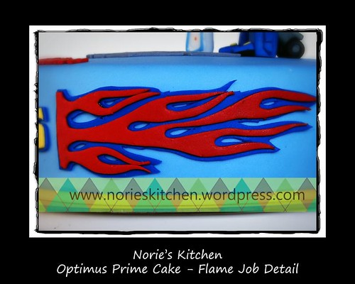 Norie's Kitchen - Optimus Prime Cake - Flame Job Detail