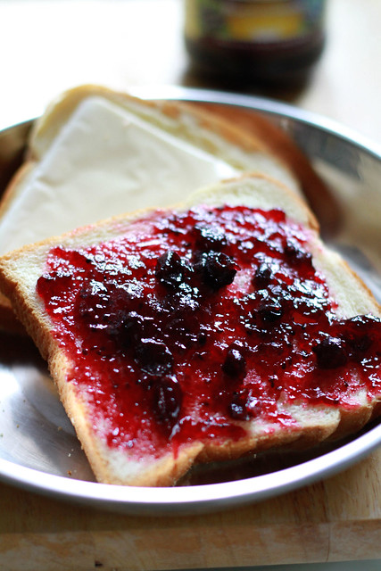 "Weekend Lazy Breakfast - Toasted Honey & Egg Bread with Blackcurrant jam & ""Cheese"""