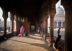 The Prayer (aleemsm) Tags: life ladies people sunlight india colors souls women warm delhi prayer religion mosque cameron photowalk winters dynasty emperor jamamasjid shahjahan mughal commonman macmaster jan11