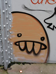Spades Character on Railway Bridge (DJLeekee) Tags: street city bridge graffiti grafitti character teeth centre graf cardiff whale blob spades spade grangetown colourfulart