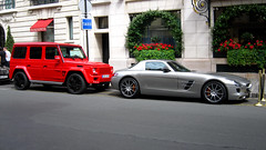 Mercedes Combo in Paris (Frankenspotter Photography) Tags: auto red saint aj photography mercedes photo nice flickr shot g great picture automotive 63 expensive 55 rue supercar v8 sls sportscar amg sportscars supercars combo brabus faubourg g55amg carspotting honore worldcars frankenspotter