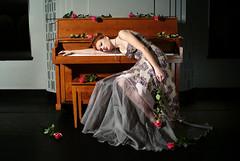 (the violet fox) Tags: pink roses ballet black fashion modern dark grey swan piano dramatic dancer editorial romantic anastasia chatzka