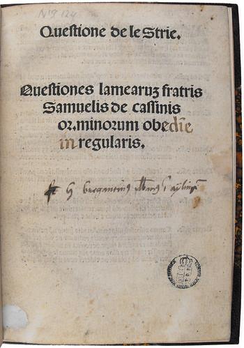 Title page of Questione de le strie