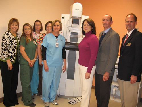 Evans Memorial Hospital staff with a new, USDA funded mammography machine  L to R: From Evans Memorial Hospital: Martha Tatum, CEO; Shelley Kicklighter; Angie Smiley, Tammie Eason, and Wendy Boatright. From Rural Development Jeanmarie Deloach, Donnie Thomas, acting state director,  and Ricky Sweat, Baxley area office director.