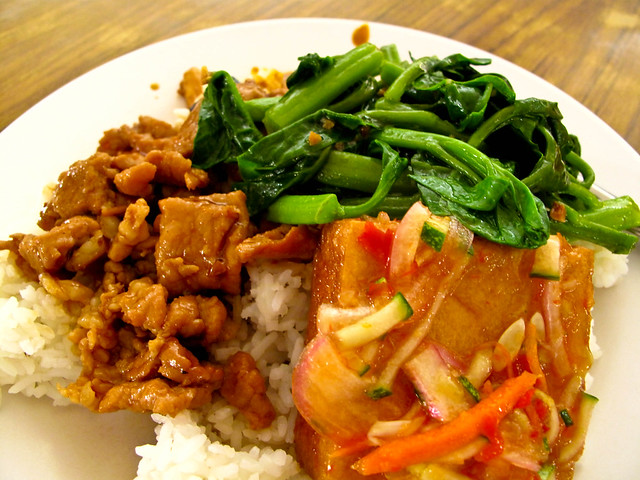 IMG_0904 杂菜饭 - 午餐, Lunch- Pork , Thai Style tofu , and vegetable