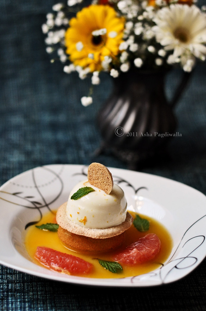 Citrus Pannacotta with Semolina Cake and Citrus Syrup