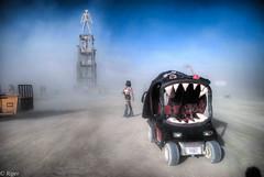 The Man, The Tesseract & The Mutant Gorilla (HotcakesMOEP) Tags: fashion mobile desert gorilla teeth dry playa burningman sandstorm golfcart artcar tesseract mutantvehicle punci