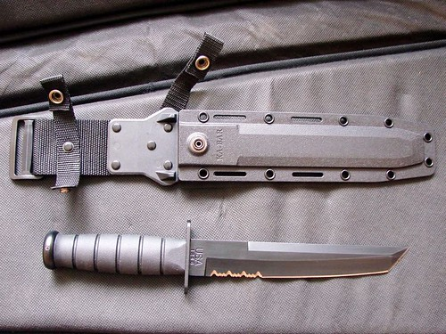 "KA-BAR Black Tanto Fighting Knife 8"" Combo Blade With Kydex Sheath"
