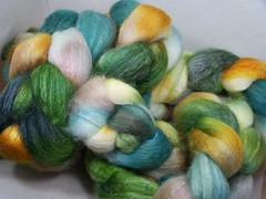 BFL Silk 75/25 Spinning Fibers 4oz ~ Spring Greens