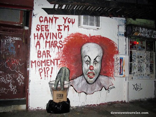 Scary clown street art at Mars Bar in the East Village