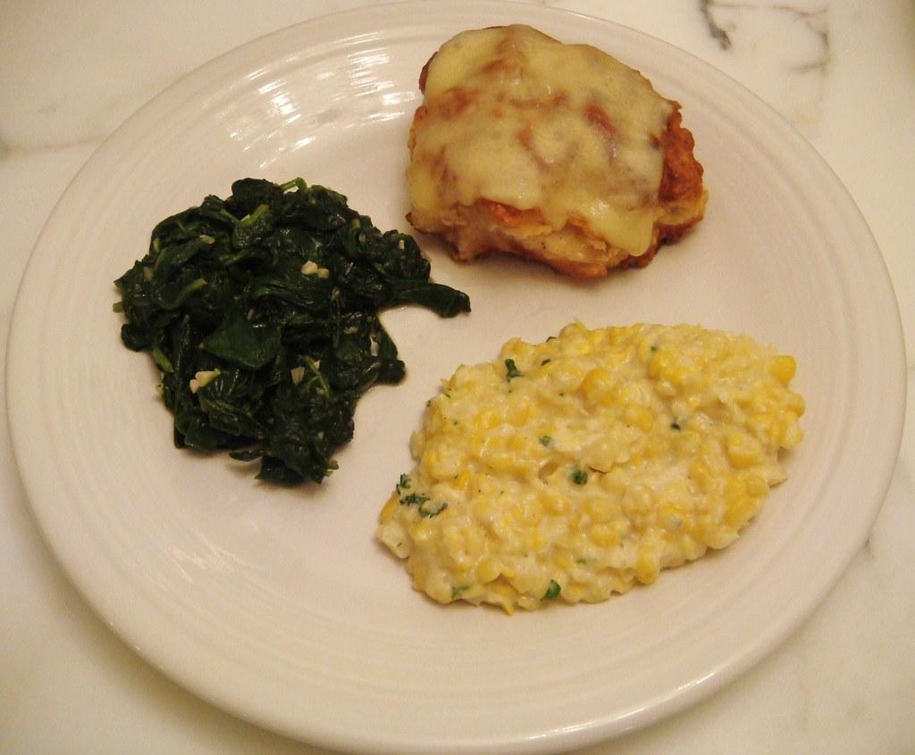 Pan-Fried Chicken Breast - Creamed Corn - Wilted Spinach w/garlic