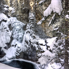 Johnston Canyon - Lower Falls - Frozen (Dawid Werminski) Tags: park winter cliff snow canada tree ice water pool rock pine canon square lens eos rebel frozen is high dynamic ab tourist canyon hike falls national alberta banff format kit mm 1855 range hdr dawid attraction johnston h20 xsi kanada 500x500 f3556 450d werminski