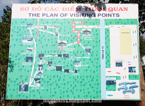 cu chi tunnel plan of visiting points