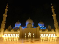 Abu Dhabi, Sheikh Zayed Grand Mosque -        (Sir Francis Canker Photography ) Tags: longexposure travel blue panorama reflection art tourism monument skyline architecture night court lights twilight