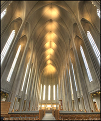 Inside Hallgrimskirkja (odin's_raven) Tags: longexposure panorama art church monument beautiful architecture photoshop geotagged photography photo iceland nikon long exposure arch dynamic cathedral pano curves hallgrimskirkja chapel arches landmark panoramic reykjavik photograph processing inside lonely nikkor curve hdr highdynamicrange internal icelandic photorealism postprocessing photomatix d700