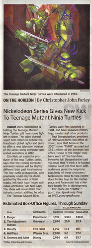 "The Wall Street Journal :: Monday, March 7,2011 - Media  - ""Nickelodeon Series Gives New Kick To Teenage Mutant Ninja Turtles // article (( 2011 ))"