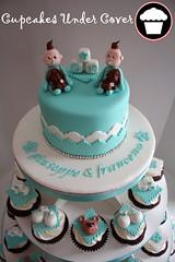 - twin boys- (Cupcakes Under Cover) Tags: blue toronto tower bears twin baptism cupcake blocks tiffany booties oshawa fondant