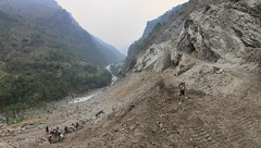 construction of road further up the valley along Annapurna Circuit day 2 (Wildernesscapes Photography) Tags: nepal panorama trekking trek panoramic annapurnacircuit teahouse annapurna johnathanesper
