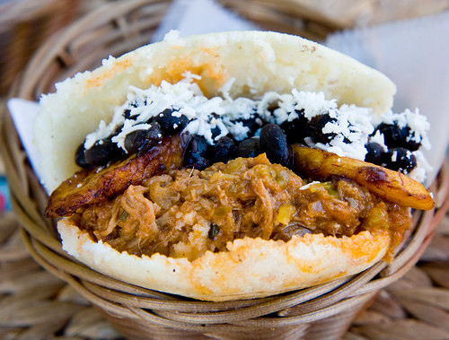 Arepa pabellon (shredded beef, plantains, beans), Arepera Guacuco
